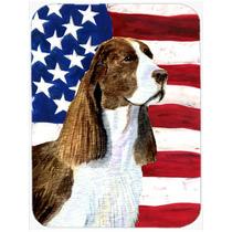 Bandera Americana Con Ee.uu. Perro De Aguas De Cristal Tabla