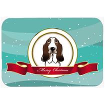 Basset Hound Feliz Navidad De Vidrio Tabla De Cortar Grande