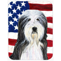 Bandera Americana Con Ee.uu. Bearded Collie Junta De Corte D