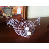 Canasta Para Huevos Metalica Figura De Gallina