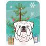 Árbol De Navidad Y Blanco Bulldog Inglés De Cristal Tabla