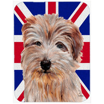 Norfolk Terrier Con Unión Jack Británica Inglés Cristal D
