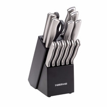 Cuchillos De Cocina Farberware Acero Inox Bloque C/ 14 Pzas