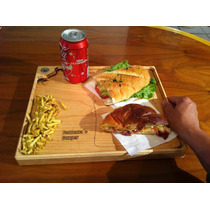 Charola Bandeja Tabla Sandwich Hamburguesas Madera 28x33cm