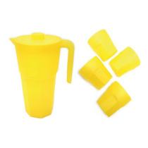 Set Jarra Plastico 2l 4 Vasos Amarillo Good And Good