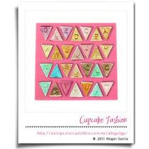 Molde Banderines Abecedario Pasta Flexible Cupcake #1294