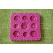 *molde De Silicon 9 Botones Flores Pastel Cupcake Fondant*
