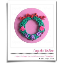 Molde Silicón Corona Navideña Navidad Fondant Cupcake #1571