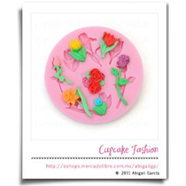 Molde Silicón Flores Rosa Tulipán Fondant Flexible #742