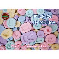 Pack 10 Moldes Flexibles Silicón - Arcilla Kawaii Porcelana