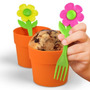 2 Moldes Para Cupcakes En Forma De Maceta Flores Tenedor