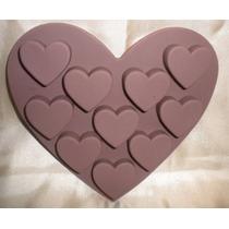 Molde De Silicón Con Figura De Corazón,y Corazones Dentro