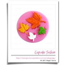 Molde Silicón Hoja Otoño Fondant Pasta Flexible Cupcake #903