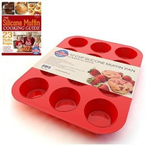 Silicona Designs Muffin Pan Y Cupcake Maker 12 Copa Red Plus