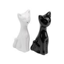 Salero Y Pimentero En Forma De Gato Blanco Negro Cerámica