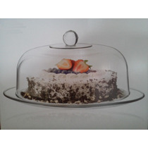 Pastelera Domo Y Plato Cristal Panques Muffins Grande 33 Cm