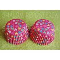 *capacillos Rosas Corazones De Colores Cupcake Fondant*