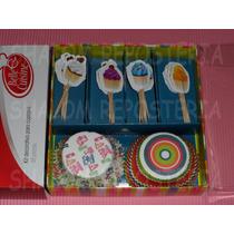 *set Decorativo Capacillos Pics Cupcake Cumple Fondant*