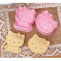 2 Cortadores Galletas Hello Kitty Pan Pasta Fondant Choco