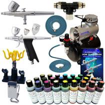 Aerografo Con Compresor Decorador Pasteles 24 Colores Vbf