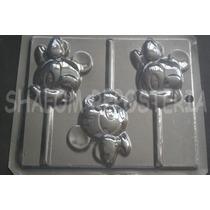 *molde Paletas Chocolate Minnie Mouse Cara Bebe Baby Disney*