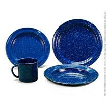 Vajilla Peltre Azul Para 4 Personas