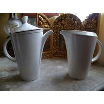 Cafetera Y Jarra De Ceramica Con Filo De Oro