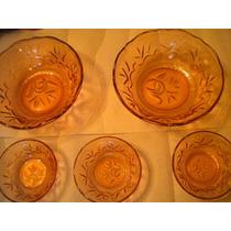 Jgo 2 Tazones Y 3 Tazitos, Depression Glass Años 30 Hm4