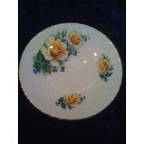Plato Fina Porcelana Rosas Amarillas