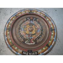 Plato De Cobre Calendario Azteca 28 Cms