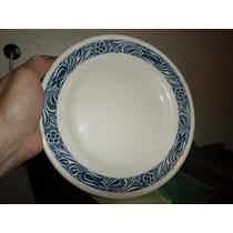 Plato De Ceramica Marca Anfora Blanco Azul Diametro 21cmx3