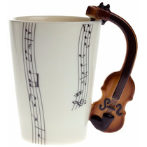 Taza Con Mango De Violin Y Notas Musicales Rectas