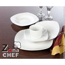 Plato Loza Trinche De 28 Cm /11 Pg Porcelana Blanca Cuadrada