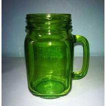 Tarro Tipo Mason Jar De Vidrio Color Verde 16 Oz