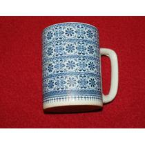 Jgo 6 Tarros Para Café Chinos En Colores Azul Y Blanco