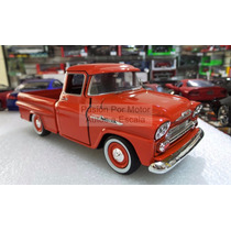 1:24 Chevrolet Apache 1958 Naranja Pick Up Motor Max Display