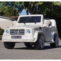 Carrito Bateria Mercedes Benz G55 Blanco Luces Sonidos Mp3