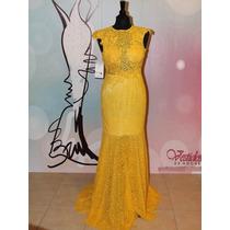 Hermoso Vestido De Noche Fiesta De Encaje Elegante Escote