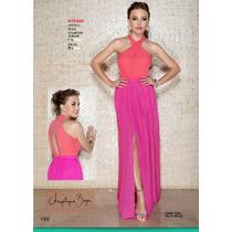 Vestido Rosa Elegante Abertura En Pierna Y Escote Espalda