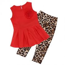 Conjunto Para Niña Blusa Y Pantalon Leopardo Moda Japonesa