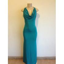 Vestido Largó Americano Licra Pesada Azul Aqua Forrado T- Xs