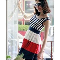 Precioso Vestido De Rayas Moda Japonesa Ideal Verano Vbf