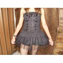 Mini Vestido Tutu Dark Gotico Punk Lolita