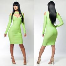 Moda Sexy Mini Vestido Fiesta Verde Neon Con Mangas