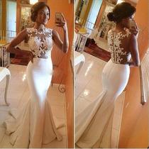 Vestido De Novia Boda Sirena De Organza Encaje Elegante
