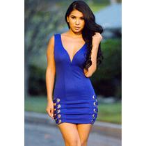 Sexy Mini Vestido Azul Con Tiras Moda Fiesta Cierre Espalda