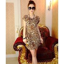Vestido Corto Casual Entallado Animal Print Leopardo Moda