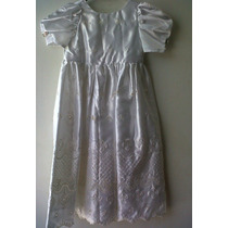 Vestido Bautizo Largo Blanco Niña Talla 3 Años, Mma