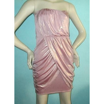 Vestido Strapless Rosa Metalico Talla Mediana
