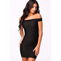 Moda Sexy Mini Vestido Strapless Corrugado Negro Fiesta